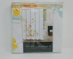 Tahari Home Printemps Fabric Shower Curtain White Yellow Gre