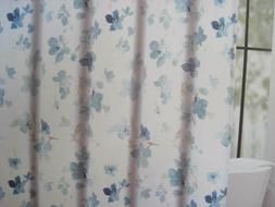 printemps floral fabric shower curtain teal tan