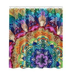 Psychedelic Shower Curtain Trippy Stoner Graphic Mandala Pat