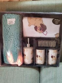 Pug Bathroom Shower Curtain And Accessories