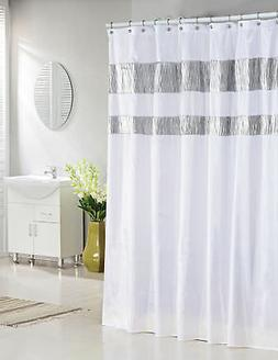 Pure White Fabric Shower Curtain with Silver Metallic Accent