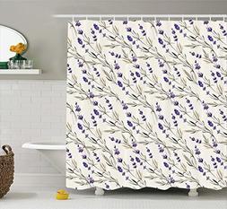 Ambesonne Purple Decor Collection, Lavender Paint Style Patt