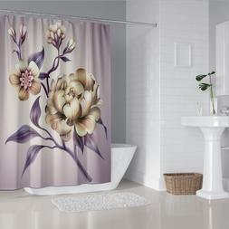 Purple Elegant Peony Flower Shower Curtain Bathroom Decor wi