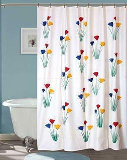PVC Flowers Hand Painted Shower Curtain 54x80-inch Black 8 H