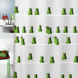 Spirella Quack Green Frogs TEXTILE Polyester Shower Curtain