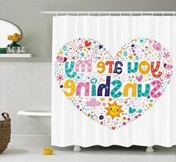 Ambesonne Quotes Decor Shower Curtain, Heart Shaped Sunshine