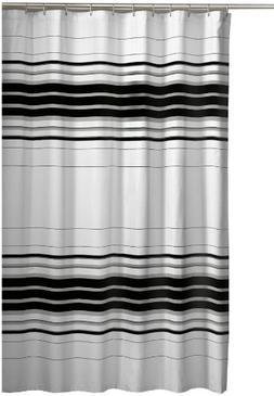 Maytex Racer Stripe Fabric Shower Curtain, Black
