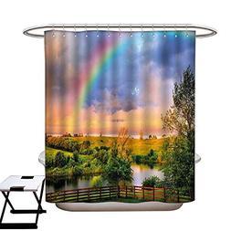 Stevenhome Rainbow Anti Bacterial Shower Curtain Liner Kentu
