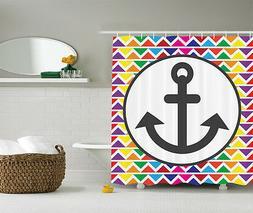 Rainbow Chevron NauticalÊ Beach Anchor Fabric Shower Curtai