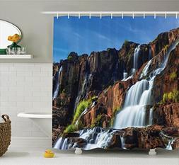 Ambesonne Rainforest Decorations Shower Curtain Set, Pongour