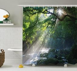 rainforest shower curtain decor