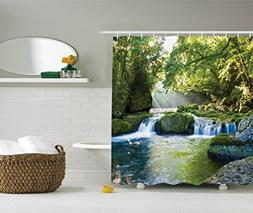 Ambesonne Rainforest Waterfall Decor Shower Curtain, Foliage