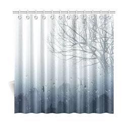 InterestPrint Rainy Scene Mystic Foggy Forest Decor, Art Rom