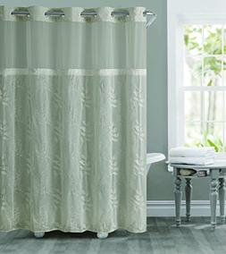 Hookless RBH32MY128 Palm Leaves Embroidery Shower Curtain wi