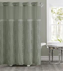 Hookless RBH32MY130 Palm Leaves Embroidery Shower Curtain wi