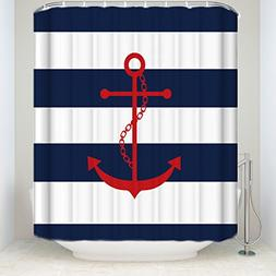 Red Anchor On Blue Stripes Print Shower Curtain Home Decor B