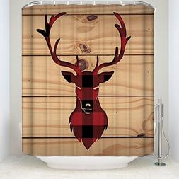 Red Black Buffalo Check Plaid Deer Head with Rustic Old Barn