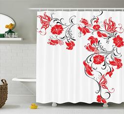 Ambesonne Red and Black Shower Curtain, Japanese Asian Desig