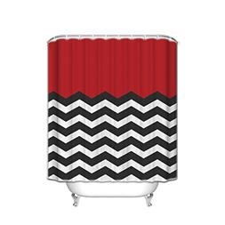 SUN-Shine Red Black White Chevron Zigzag Shower Curtain Extr