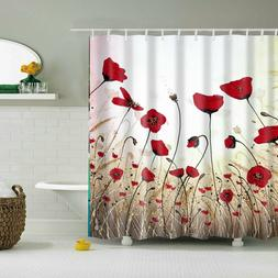 Red Flower Floral Shower Curtain Set 12 Hooks Bathroom Water