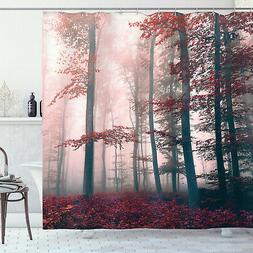 Red Gray Mystic Forest Mystical Foggy Decor Shower Curtain E
