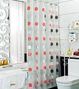 Red White Black Silver Polka Dots PEVA Translucent Shower Cu