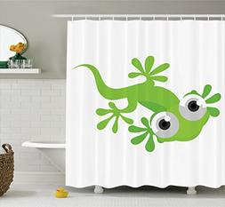 Ambesonne Reptile Decor Collection, Cute Lizard Looking at U