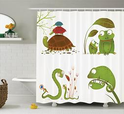 Ambesonne Reptile Decor Shower Curtain Set, Reptile Family W
