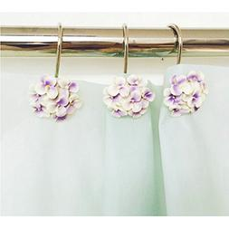 Ayygiftideas Set of 12 Resin Flower Decorative Shower Curtai