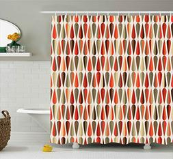 Ambesonne Retro Decor Shower Curtain, Home Decor 60s 70s Sty