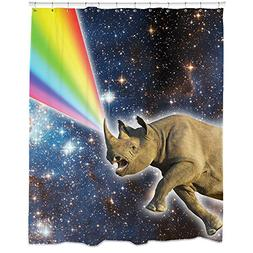 Rhino Decor, Rhino Galaxy Shower Curtain, Space Shower Curta