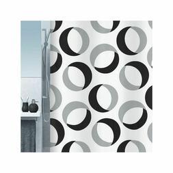 Spirella Rings Grey Black Textile Shower Curtain 70 7/8x78 1
