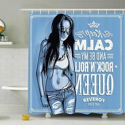 Ambesonne Rock n Roll Queen Quote Shower Curtain Set