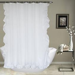 UFRIDAY White Ruffled Shower Curtain by, Fabric Shower Curta