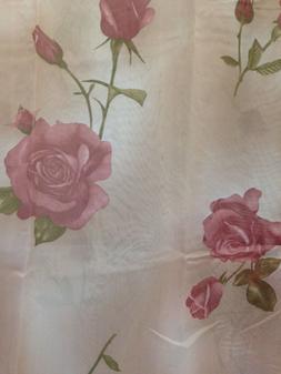 Rose Floral Flowers Shower Curtain Set with Vinyl Liner Plas