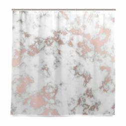 ALAZA Rose Gold Marble Shower Curtain Waterproof Polyester B