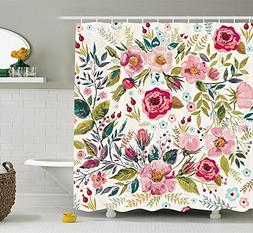 Rose Gold Shower Curtain, Floral Shower Curtain, Life Shabby