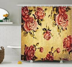 Ambesonne Roses Decorations Shower Curtain, Old-Fashioned Vi