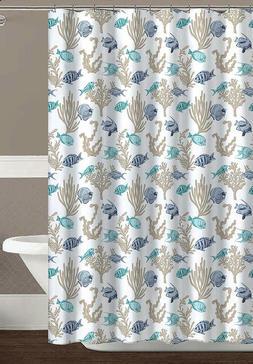 Royal Palm Ocean Sea Life Fish Fabric Shower Curtain: Turquo