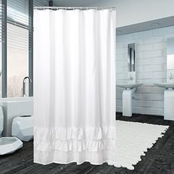 Yuunity Ruffle Shower Curtain Polyester Fabric Mildew Resist