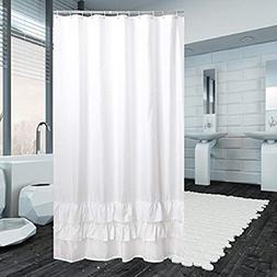 YUUNITY Ruffle White Shower Curtain Polyester Fabric Mildew