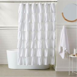 """Ruffled Shower Curtain White 72x72"""" Standrd Bathtub Curtains"""