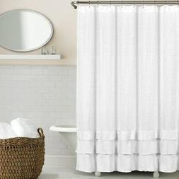 Echelon Home Ruffled Washed Belgian Linen Shower Curtain, Wh