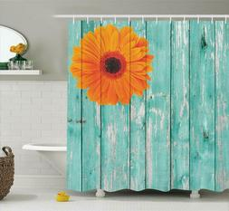 Ambesonne Rustic Barn Decor Shower Curtain Set, Daisy On Vin