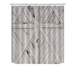 LB Rustic Barn Door Grey White Painted Barn Wood Decor Showe