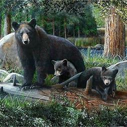 "Rustic Black Bear "" Cubs Shower Curtain Home Kitchen"