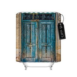 Rustic Country Barn Wood Door Waterproof Fabric Shower Curta