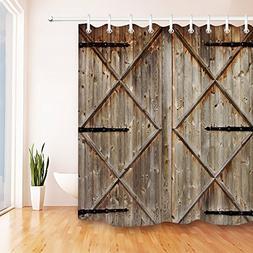Rustic Country Farmhouse Barn Door Decor Shower Curtain for