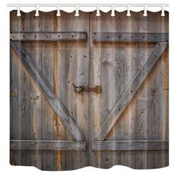 rustic decor shower curtain wooden barn door