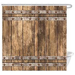 Rustic Farmhouse Shower Curtain Fabric Western Old Wooden Ga